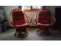 2 Swivel cane chairs