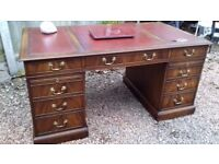Large Vintage 'Reprodux by Bevan & Funnell' Leather Topped Flame Mahogany Pedestal Writing Desk