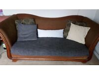 Large sleigh couch, made in USA by Bernhardt and accompanying chair