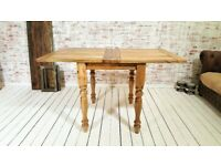 Petite Turned Leg Extending Rustic Farmhouse Kitchen Dining Table - Space Saving Design