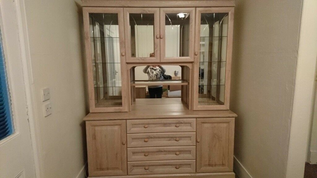 Sideboard, glass cabinet and CD rack set