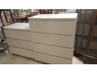 2 Sets Of White Ikea Drawers