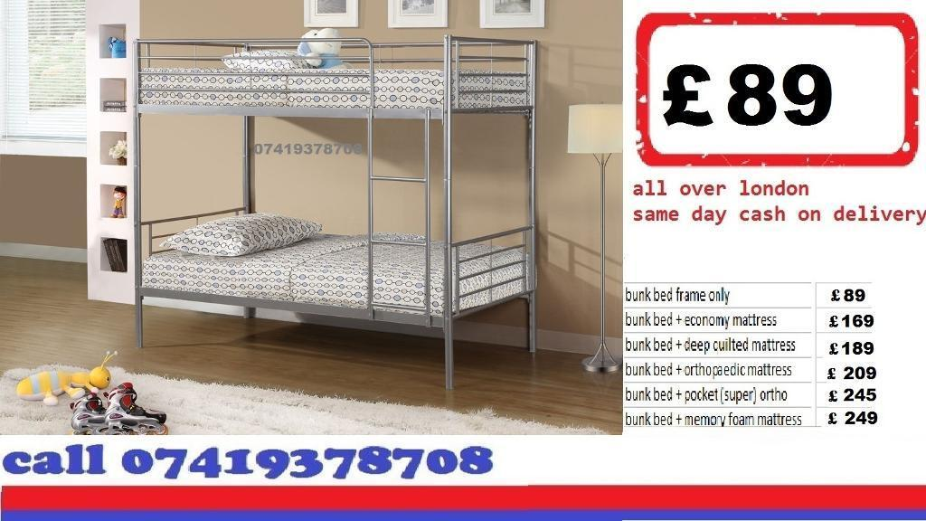 single metal bunk split in 2 single Base availableBeddingin West Ealing, LondonGumtree - ESPECIAL EASTER SALE.~.~.Available at Half of the Orignal Price.~.~. We Deal in all sizes of Divan ,Leather Beds.~.~.Other Furnitures sofabeds, wardrobe, sofa available also.~.~.Brand New Delivery Same day Contact Us