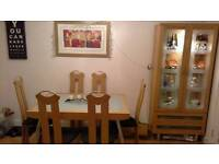 Extendable Dining Table with 6 chairs and matching display cabinet