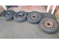 Citroen steel rims with good tyres, will fit Peugeot, ford and many other 4 nut cars