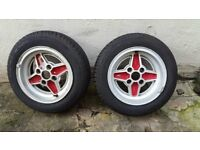 * * * Ford RS 4 spoke style alloy wheels escort cortina capri 165/65r13 tyre * * *