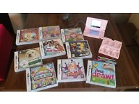 Pink nintendo ds and games