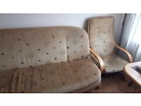 Sofa bed and 2 armchairs set
