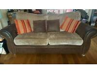 Lovely 2 + 3 seater sofas , tub chair and storage footstool