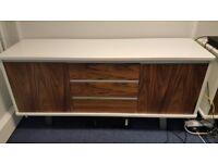 White Gloss and Walnut Cupboard: 160 L cm x 42 D cm