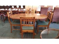 Pine dropleaf dining table and 4 matching chairs