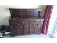 Vintage Dark Oak Sideboard, Table and Chairs
