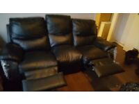 Recliner Sofa, 3 Seater Leather (Black)