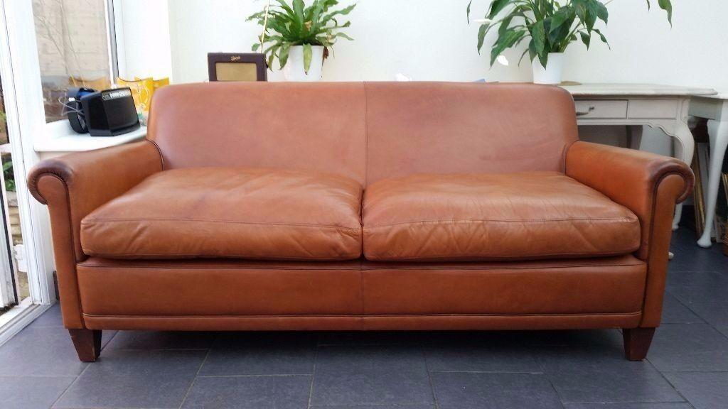 Laura Ashley Distressed Tan Brown Extra Large Leather Burlington Sofa Settee Rrp 1900