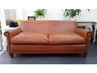 Laura Ashley Distressed Tan Brown Extra Large Leather Burlington Sofa Settee RRP £1900