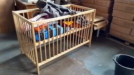 Wooden Cot for a baby boy or girl - ex display unit