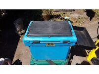 Blue Galaxy seat box and green Shakespear box