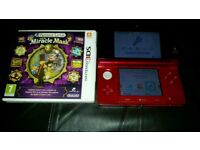 3ds console red with game