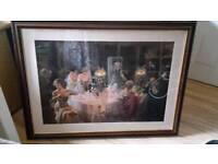 Stunning large mahongany framed dining picture
