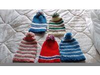 5 x Childrens Bobble Hats