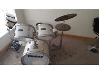 5 piece 'THUNDER' drum kit for sale. Excellent condition. Set up for viewing/play. £100 no offers.