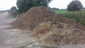 Wood chip garden mulch