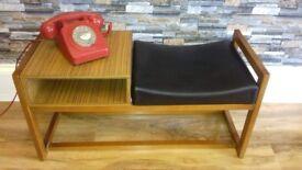 Vintage retro mid century telephone table, with vinyl seat.