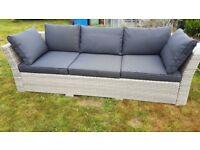 Rattan garden 3- seater Sofa Grey/White -Brand New