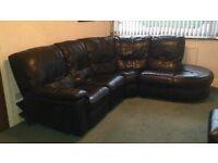 Recliner Black Leather Corner Sofa and foot stool/storage
