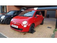 Red Fiat 500 twinair 0.9L with full red leather