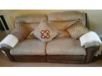 3 PIECE SUITE , RECLINING SETTEE , 2 ARM CHAIRS, 1 RECLINING. EXCELLENT CONDITION