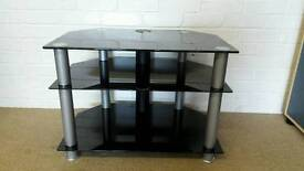 Black glass and chrome corner TV unit
