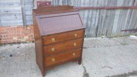 Vintage Oak Bureau Child's Desk Bedroom.