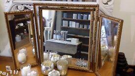 Triple gold ornate dressing table mirror