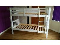 BRAND NEW NOVARO SINGLE / DOUBLE SOLID PINE WOOD BUNK BED FRAME IN WHITE FINISH TRIO BUNKBED
