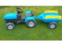 Child's Ride On Pedal Tractor with trailer age approx 2-5 years