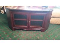 Silentnight mahogany colour wooden TV corner cabinet with glass doors