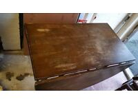 Rare Antique Oak Drop-leaf Table with Four Matching chairs for Sale