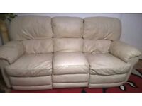 cream leather three seater leather recliner sofa
