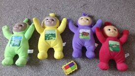 Teletubbies 4 Plush Teddy Bears with Toy Phont