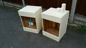 Rustic handmade pair of solid wood bedside tables