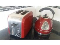 Waring Red Kettle and matching toaster