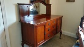 Vintage Edwardian Style Real Wood Sideboard with Mirror Made by CWS, Bristol