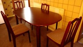 Mahogany table with 4 chairs.