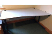 Light Grey Office Desk with curved wider end, strong metal frame and cable holes - good condition