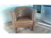 "TUB CHAIR,TAN COLOUR, S-33"" D-31"" H-31"" ,BARGAIN, VIEWINGS AT GROOMSPORT..SEE ALL PICS"