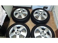 Vauxhall Corsa alloy wheels, Locking bolts and new sapre tyre