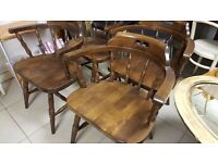 Set Of 4 Beautifully Made Antique Captains Chairs