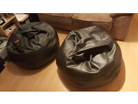 Pair of large comfy black faux leather beab bags as new