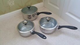 Set of 3 John Lewis Saucepans, Steamer and Frying Pan for All Hob Types inc Induction